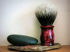 Shaving Brush  Red Wine Pearl Handle Hand-Made by LoveYourShave