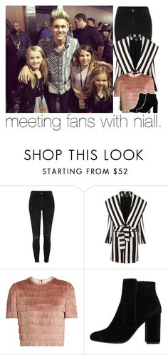 """""""meeting fans with niall."""" by girlalmightysyd ❤ liked on Polyvore featuring River Island, Balmain, Raey and MANGO"""