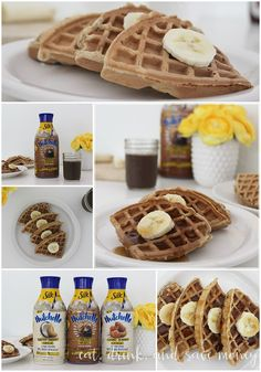 Banana nut waffles pair perfectly with the NEW Silk Nutchello Rich Dark Chocolate and Walnuts drink. #HelloNutchello #CollectiveBias AD
