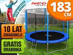 Trampolina ogrodowa 6ft/183cm z siatką zewnętrzną i drabinką Neo-Sport