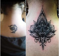 Before and free cover up tattoo on the neck of a lotus flower and ...