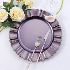 "6 pcs 13"" Round Scalloped Trim Charger Plates. Accent your party tables with classic round charger plates from Leilani Wholesale! Featuring a stylish scalloped rim design, these lightweight charger plates will enhance the appearance of your reception tables. Purple Wedding Decorations, Charger Plates, Plate Chargers, Reception Table, Party Tables, Plastic Plates, Gold Material, Holiday Festival, Purple Gold"