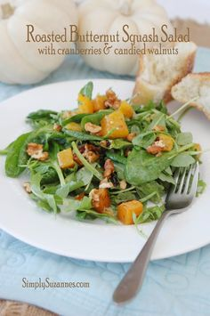 Simply Suzanne's AT HOME: roasted butternut squash salad with cranberries & candied walnuts