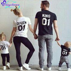 Clothing define manga curta de verão da família filho pai roupas combinando olhar família filho pai mãe filha roupas da rainha do rei