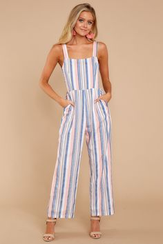 f553a2a381 Here It Comes Pink Multi Striped Jumpsuit