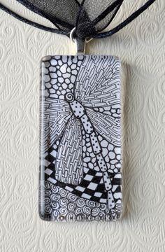 Zentangle Pendant Dragonfly Necklace. $15.00, via Etsy.