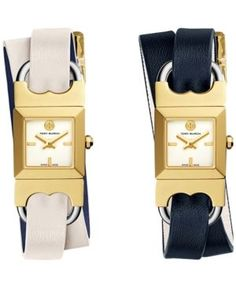 Tory Burch Women's Swiss Double T Link Navy and Ivory Reversible Leather Wrap Strap Watch 18x18mm TB5404 - Ivory/Cream