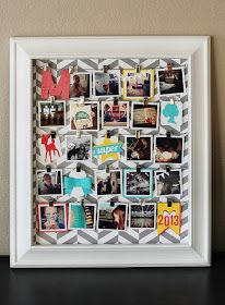 Good way to use those frames without glass or backing. Glue or staple fabric behind, then add pictures/letters/whatever