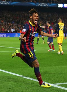 Neymar of Barcelona celebrates his goal during the UEFA Champions League Quarter Final first leg match between FC Barcelona and Club Atletico de Madrid at Camp Nou on April 1, 2014 in Barcelona, Catalonia.