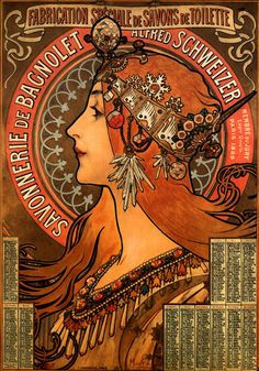 Mucha, Soap factory of Bagnolet, 1897. Poster.
