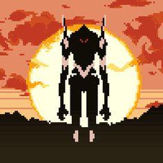 gif animated pixel art 8-bit neon genesis evangelion asuka evangelion MECHA Rebuild of Evangelion Anima 16-bit asuka langley eva unit 03 best oc