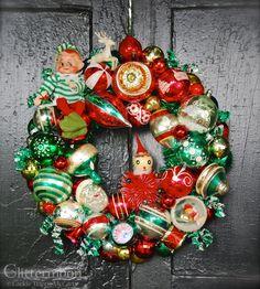 Vintage Christmas Ornament Wreath
