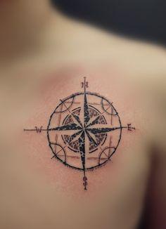 Different, but original compass tattoo