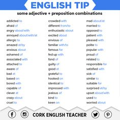 English Tip: some adjective + preposition combinations English Vinglish, English Tips, English Writing, English Study, English Lessons, Learn English, English Literature, English Prepositions, English Idioms