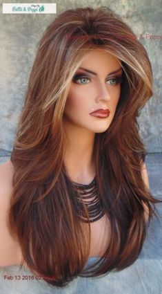 Ombre Blonde Wigs Lace Frontal Hair Miss Piggy Blonde Wig Haircuts For Long Hair With Layers, Long Layered Haircuts, Long Hair Cuts, Hairstyles With Bangs, Wavy Hair, Hair Bangs, Easy Hairstyles, Teenage Hairstyles, Voluminous Hair