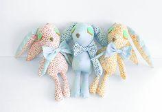 Sleepy Lilly - Handmade soft toy. OOAK doll. Baby safe toy. Shabby chic nursery decor. Retro doll for children. Stuffed bunny. Easter gift. by jesuismimi on Etsy https://www.etsy.com/listing/194352635/sleepy-lilly-handmade-soft-toy-ooak-doll