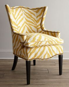 "Shop ""Sunflower Zebra"" Chair at Horchow, where you'll find new lower shipping on hundreds of home furnishings and gifts. Yellow Accent Chairs, Small Accent Chairs, Living Room Chairs, Living Room Furniture, Home Furniture, Upholstered Furniture, Dining Room, Dining Table, Zebra Chair"