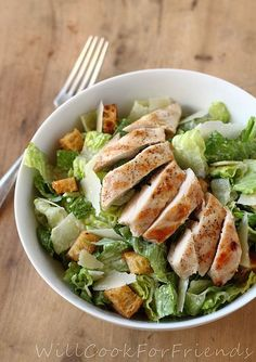 Chicken Caesar Salad with homemade dressing and croutons!