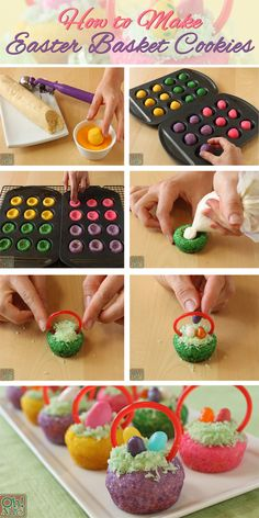Easter Basket Cookies--Sooo easy, especially if you have a Pampered Chef Mini Muffin pan! Make several to share with your friends! - The Pampered Chef® - www. Holiday Desserts, Holiday Baking, Holiday Treats, Holiday Recipes, Easter Desserts, Easter Cookies, Easter Treats, Easter Food, Easter Dinner