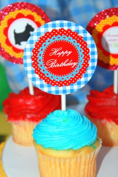Wizard of Oz CUPCAKE TOPPERS Favor Tags or by KROWNKREATIONS