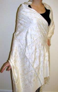 """Ivory #pashmina #shawl #wrap has an elegant all over #embroidered design, made by skilled artisans in India especially for #YoursElegantly. Perfect for any season this pashmina shawl wrap will be a great accent for any outfit! Buy one for yourself or as a #gift.  Product No: 4077 Size: 28"""" X 76"""" with 3"""" fringe Special: $39.99"""