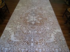 Antique Reticella & Needle Lace Tablecloth c1900 ~ Winged Griffins & Acorns