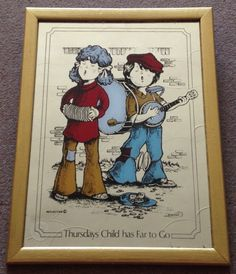 Vintage 1970s Thursdays Child Has Far To Go By DAVIES Picture Mirror Busking Children Retro Collector by JuliesLittleSecrets on Etsy