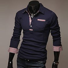Men's Long Sleeve POLO T-Shirt With Check Details