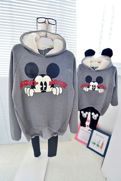 QZZ273 Winter mickey 1 6Y kids thick fleece warm family matching clothes mother daughter long sleeve family look hoodies outfits