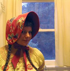 Need a quick garment for your costume? Make a bonnet like this girl did! They're as retro as could be