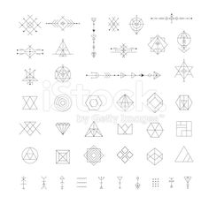 Ensemble de vecteur géométrique tendance icônes. cliparts vectoriels libres de droits
