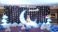 Custom star & moon theme decor - birthday medium theme decorations in Hyderabad Princess Birthday Party Decorations, Birthday Balloon Decorations, Girl Birthday Themes, Birthday Balloons, First Birthday Invitation Cards, Birthday Party Planner, Cradle Decoration, Naming Ceremony Decoration, Telugu Wedding