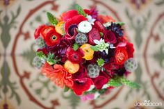 bouquet, wedding bouquet, spanish wedding bouquet, anenome bouquet, colorful bouquet, bouquet with lace