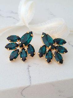 Eemrald earringsEmerald crystal stud earringsCrystal Bridal   Etsy