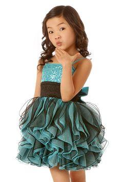 Ooh! La, La! Couture Resort Aqua/Black Shimmy Dress *Preorder*