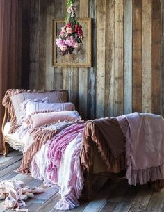 stained plank wall, pink bohemian