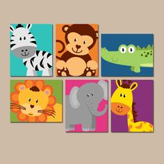 ★JUNGLE Animal Wall Art, Canvas or Prints, Boy Girl Nursery Artwork, Safari Zoo Animals, Zebra Monkey Elephant Lion, PLAYROOM Decor, Set of 6 ★Includes 6 pieces of wall art ★Available in PRINTS or CANVAS (see below) ★SIZING OPTIONS Available from the drop down menu above the add to cart button with prices. >>> ★PRINT OPTION Available sizes are 5x7, 8x10, & 11x14 (inches). Prints are created digitally and printed with UltraChrome Hi-Gloss ink on professional 68lb satin luster p...
