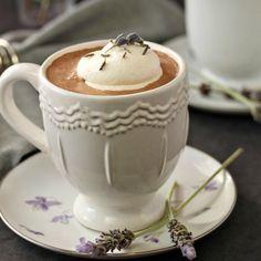 25 hot drink recipes, this one is Lavender Hot Chocolate, yum! Rich Hot Chocolate Recipe, Homemade Hot Chocolate, Chocolate Coffee, Chocolate Cobbler, Cacao, Yummy Drinks, High Tea, Milkshake, Nutella