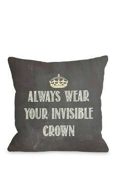 Invisible Crown Chalkboard Pillow - Gray on @HauteLook