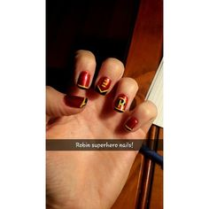 Robin superhero nails ❤ liked on Polyvore featuring beauty products and nail care