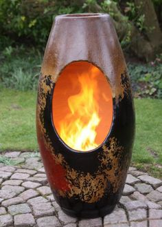 A modern art chimenea that will add striking art to your garden or patio. This is a clay chimenea which is hand made and hand painted and therefore colours and shapes may vary slightly.This chimenea is for use without a stand.Large fires are no needed in this chimenea as the clay is very efficient and heats up very quickly whilst retianing the heat for a long while afterwars.This isn't just a piece of art it has the benefit of being a patio heater too.