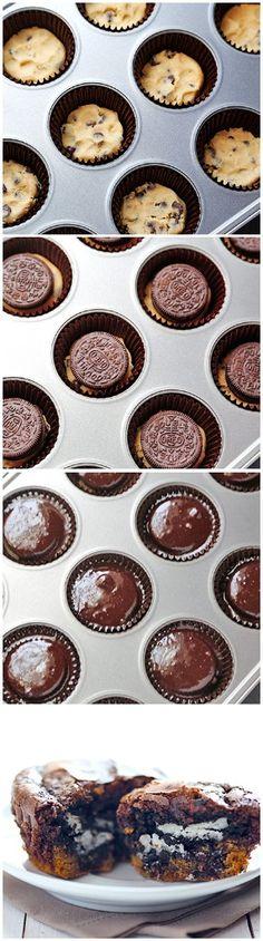 Cookie-Stuffed Brownie Cupcakes