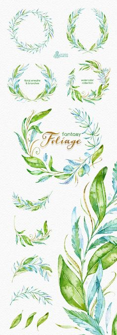 Fantasy Foliage. Watercolor floral wreaths by OctopusArtis on Etsy