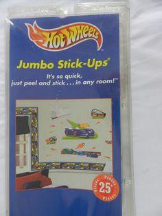 1999 New Reusable Hot Wheels Jumbo Stick Ups Wall Stickers 25pc Set #Mattelu2026 Part 70