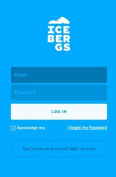 icebergs login screen