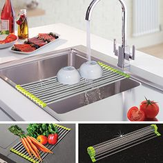 """Roll Up Drying Rack -  Multifunctional: ideal for use as a dish drainer, colander (e.g. fruits and vegetables) or as a pot stand for placing hot pots, pans or baking dishes. Can also perfectly be used as a draining board to defrost food. High quality stainless steel, non-slip silicone ends. Simply roll up to store. Fits all standard kitchen sinks. (19""""L x 9""""W) Product Number: AP23495 $24.98 CAD www.davidblum.shopregal.ca/PWS/Products/ProductDetails.aspx?prodid=16068&cid=14020&pid=140"""