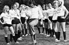 George Best hows Off His Skills To Blinkers Ladies Football Team (Pic: Rex Features)