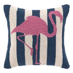Wool throw pillow with a flamingo motif against navy striping.  Product: PillowConstruction Material: 100% Wool