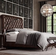 """Fancy - 68"""" Chesterfield Leather Sleigh Bed Without Footboard"""