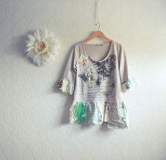 Shabby Chic Tunic Top Women's Beige Shirt Upcycled by MyFairMaiden, $58.00